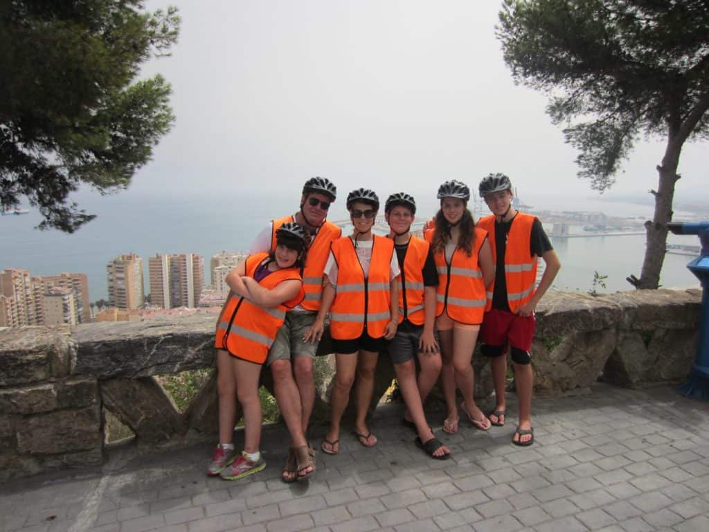 The whole family on a segway tour of Malaga, Spain