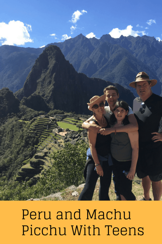 Machu Picchu and Peru are amazing places to visit with your teens. This blog provides a 7 day itinerary that takes you to Lima, Cusco, the Sacred Valley and Machu Picchu. This itinerary includes incredible food and restaurants, cultural sites, and activities, including horseback riding, pottery classes and exploring Inca ruins. | alpaca, family vacation ideas, horseback riding, Inca, Lima, Magic Water tour, Miraflores, Ollantaytambo, Pisac, Inca ruins, Sacsayhuaman, weaving, Aguas Calientes