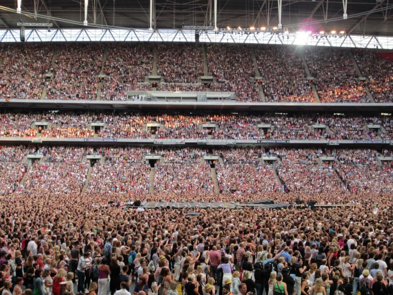 A full house in Wembley Stadium, london England to watch Take That concert