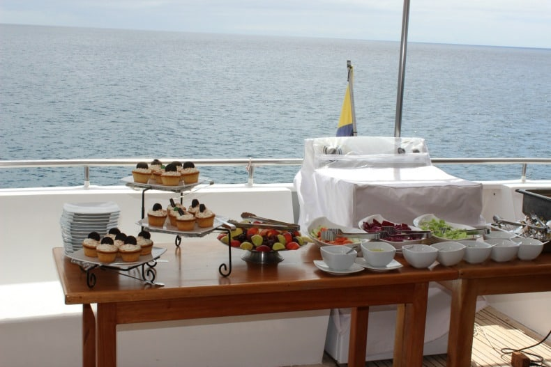 delicious food while served on board while cruising Galapagos Islands