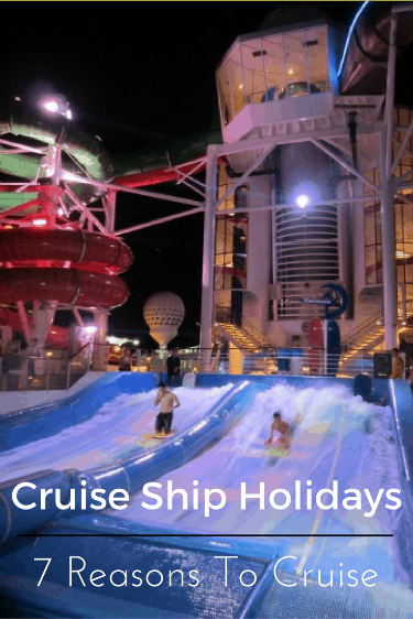 There are seven main reasons to take a cruise ship holiday.  Those are:  1) They allow you to visit lots of ports in a short time; 2) You can explore an unfamiliar region; 3)  You can unpack your luggage and get comfortable; 4) Lots of details are taken care of by the cruise ship; 5) You can easily follow a budget; 6) It is easy to have multi-generational travel; 7) Kids and parents get lots of independence from each other.