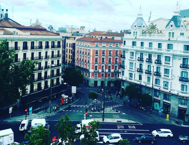 Our view from our deck near Bilbao train station in Madrid