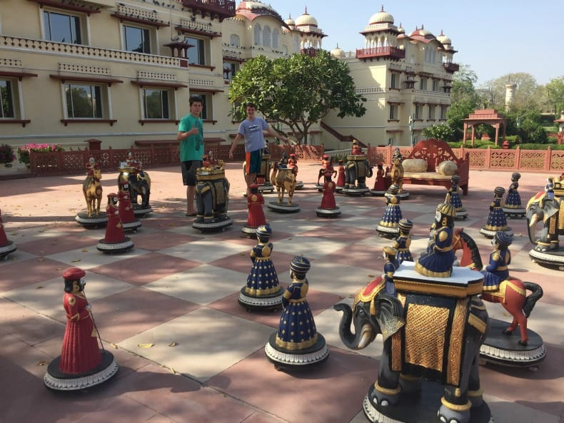 Life size game of chess available when you visit the Jai Mahal Palace Hotel