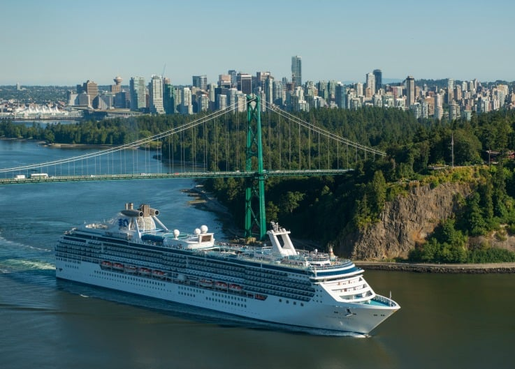 A cruise ship departing from the Port of Vancouver heading to Alaska