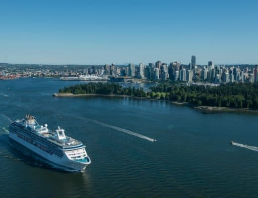 A cruise ship leaving the Port of Vancouver for an Alaskan cruise