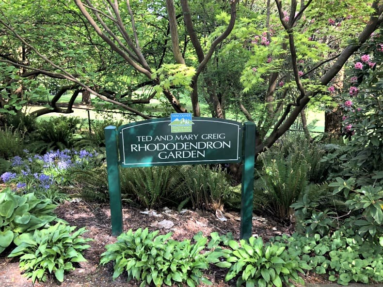 Rhododendron Garden Sign in Stanley Park
