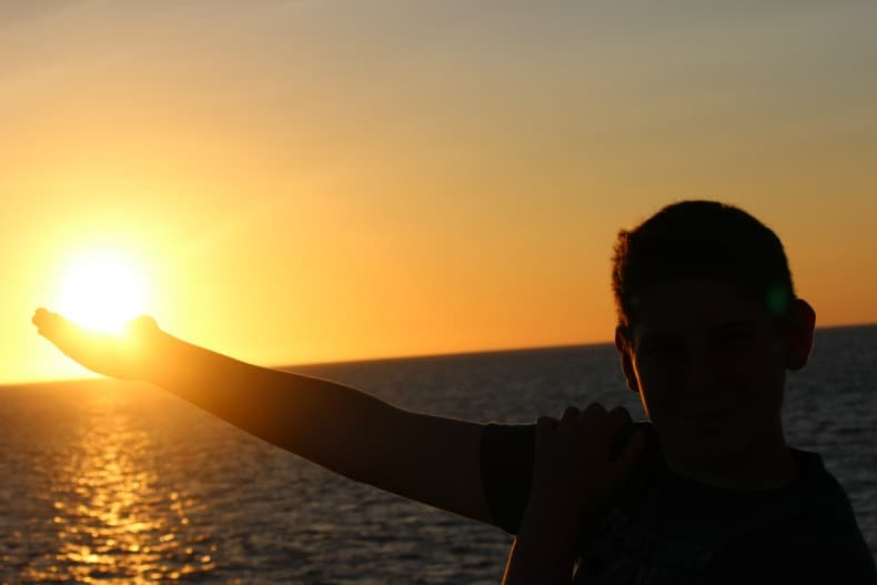 sunset while cruising the Galapagos Islands