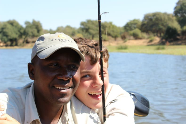 Fishing on our small speed boat safari