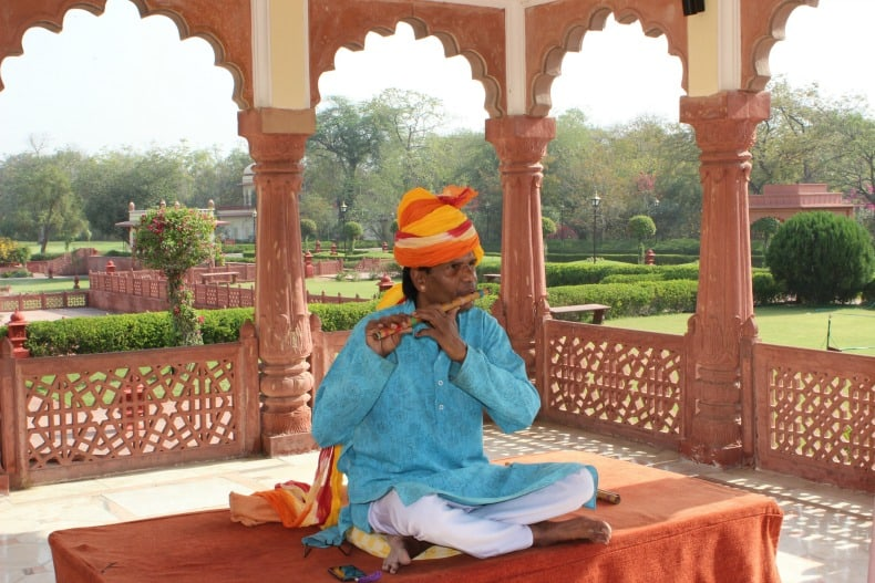 Beautiful music awaits when you visit the Jai Mahal Palace in India.