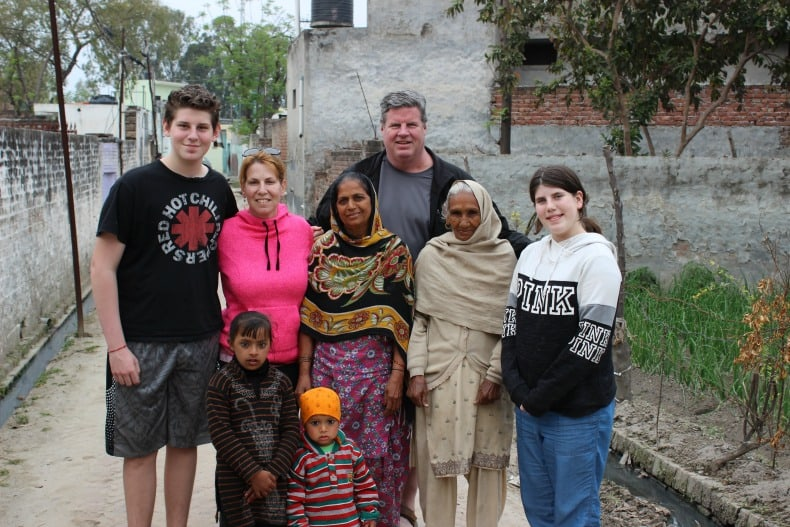 Visiting some friendly villagers from Hoshiapur, India.