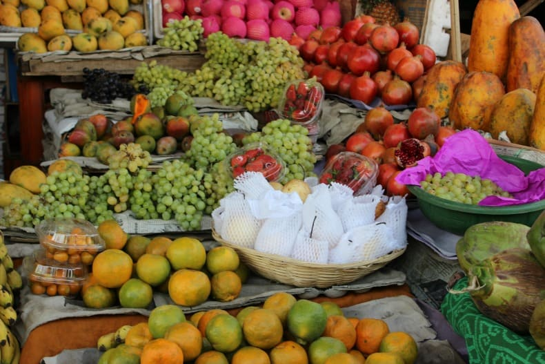 Lots of fresh fruit and vegetables when you visit the market in Jaipur, India.
