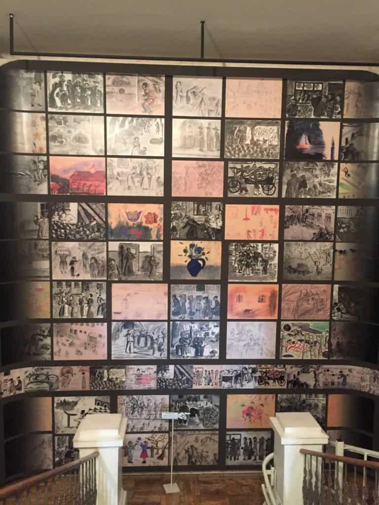 A wall of children's artwork at Terezin's Ghetto Museum near Prague