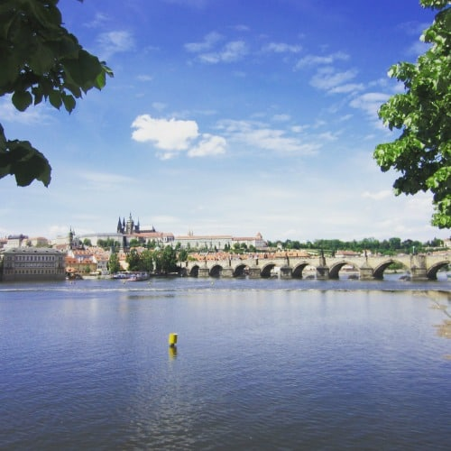A view of Charles Bridge and Prague Castle