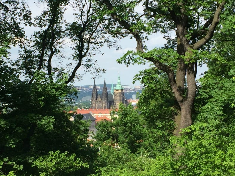 View of Prague Castle from Petrin Park