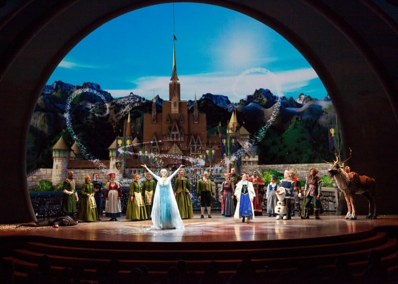 Frozen is a live show at Disney California Adventure, an amusement park.