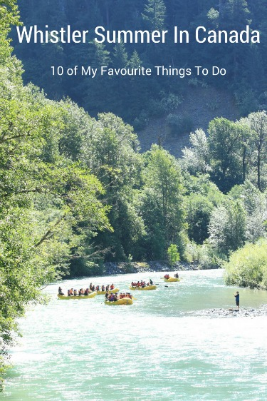 I have been to Whistler hundreds of times over the last fifteen years. Here are my 10 favourite things to do during a Whistler summer. #Whistler #BritishColumbia #Canada #travel #familytravel #adventure | Alpha Lake, biking, Creekside, Four Seasons Resort, hiking, Nicklaus North, Nita Lake Lodge, peak to peak gondola, Rainbow Park, ropes course, Side Cut, ski lifts, Squamish, swimming, tennis, Treetop Adventure, Valley Trail, volleyball, golf, Blackcomb, white water rafting