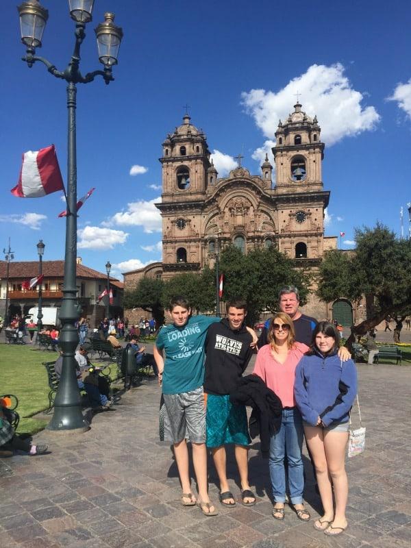 In front of the main plaza in Cusco, Peru