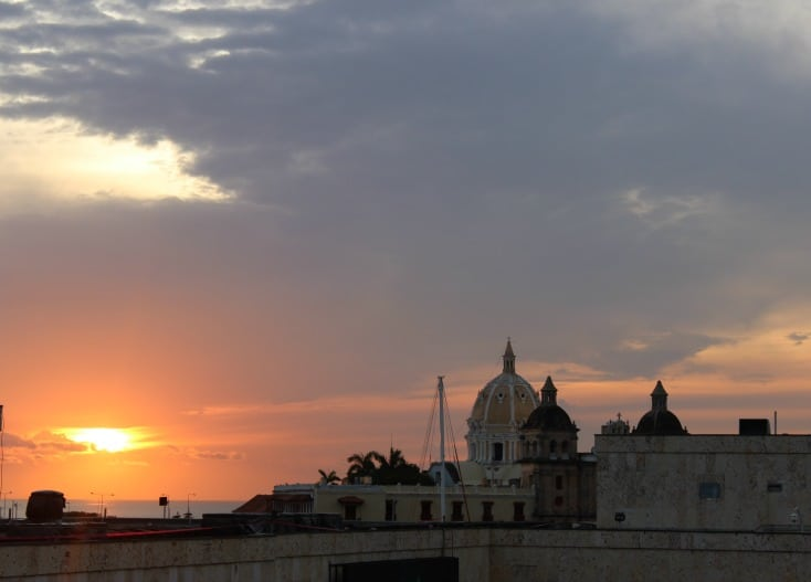 Sunset in Cartagena during our Colombia holidays