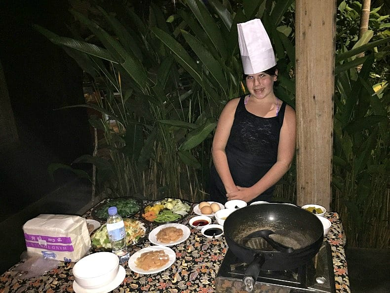 Juliet waiting for our cooking lesson in Siem Reap.