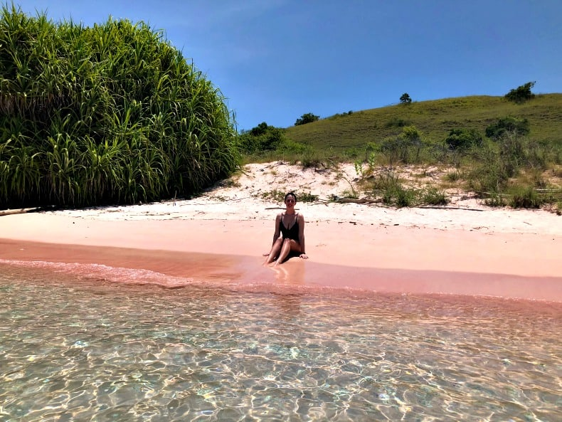 A pink beach in Komodo National Park.