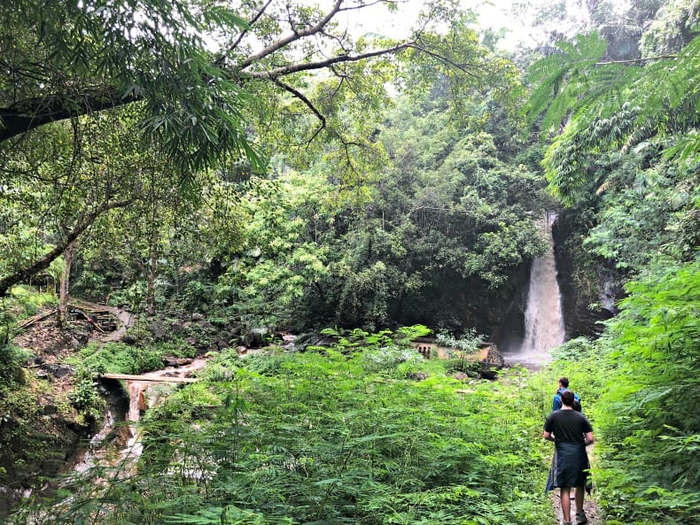 The waterfall near the Indonesia volcano