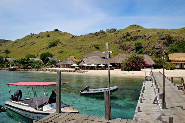 View of Komodo Resort from the water near Komodo National Park.