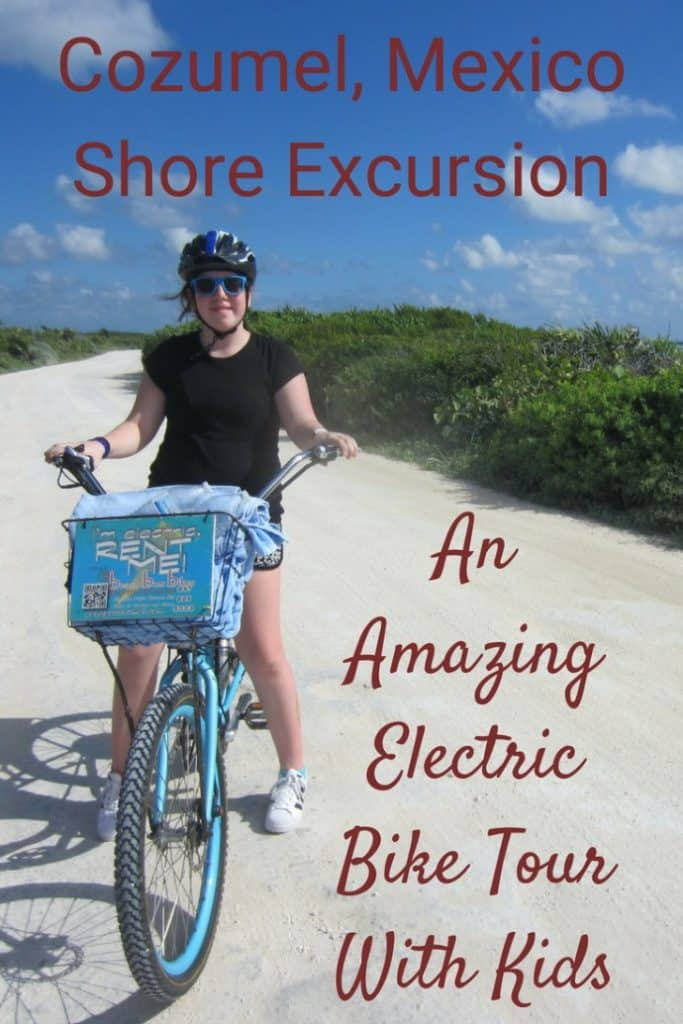 The Cozumel electric bike tour is an amazing tour exploring Punta Sur Eco Beach near the Port of Cozumel. You walk on pristine beaches, swim and snorkel in the Caribbean Sea, and spot all sorts of wildlife, like crocodiles, iguanas and turtles. #travel #familytravel #travelwithkids #Mexico #Cozemel |biking, Costa Maya, cruise, e-bike, Liberty of the Seas, Pedego, Punta Sur, Royal Caribbean