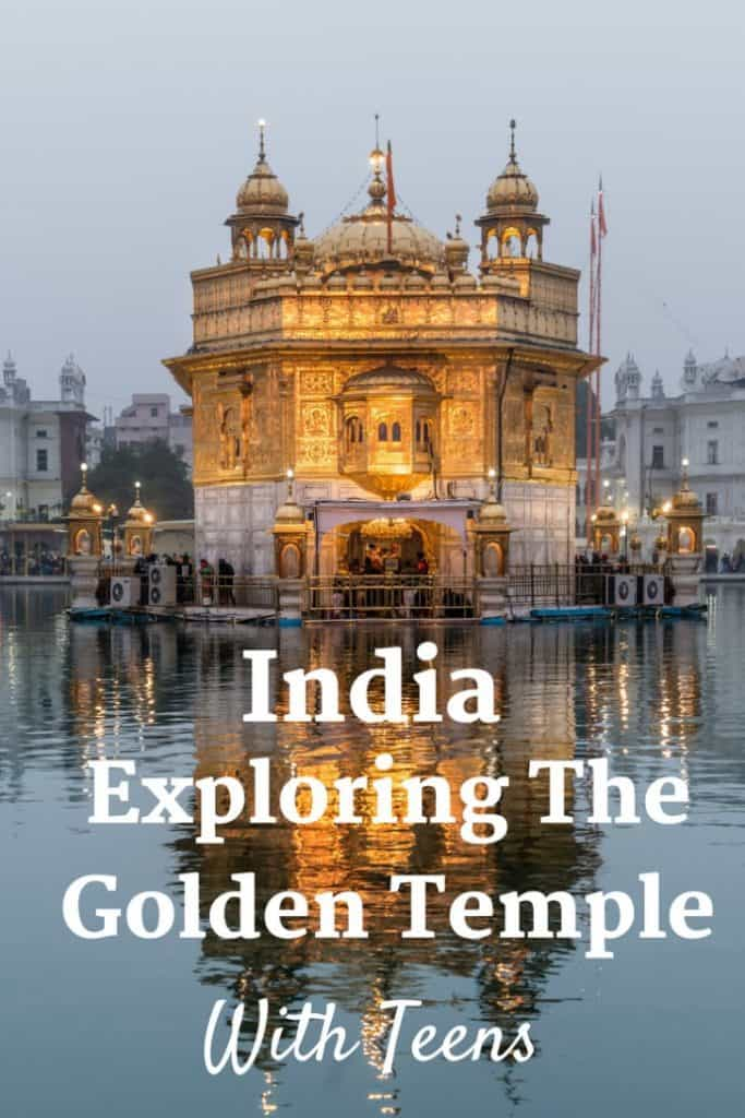 I loved exploring the Golden Temple in Amritsar India with my four teenagers. It was a joyful place with many Indian families sharing their experiences with everyone in their family. My favourite part was all of us visiting and volunteering in the kitchen. Volunteers feed between 50,000 and 75,000 free meals a day, 24 hours a day, to anyone. Amazing! #India #Asia #travel #travelwithteens #familytravel |kids, langar, Northern India, pilgrimage, Punjab, religious celebration, Sikh,
