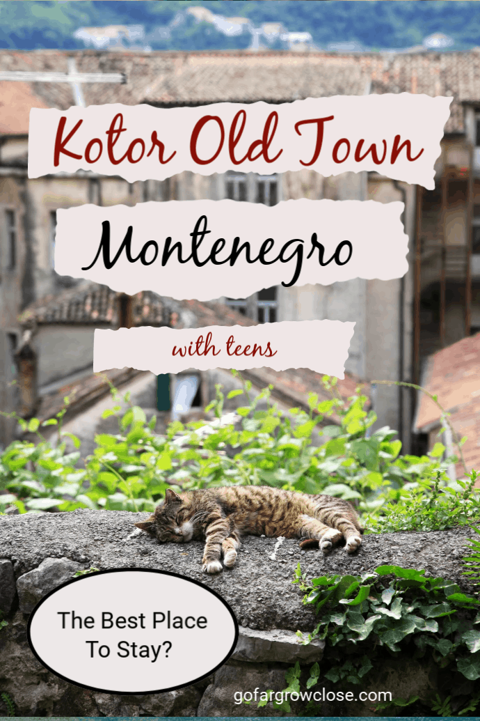 We loved staying in Kotor Old Town when we explored Montenegro. However, is it the right place for everyone? #travel #familytravel #travelwithteens #gofargrowclose #Montenegro #Kotor #Europe |Balkans, Bay of Kotor, Black Lake, Durmitor National Park, Kotor, Kotor old town, Lady of the Rocks, Montenegro, Perast, Podogorica, Tara Canyon, Tivat, Vardar Hotel, World Unesco
