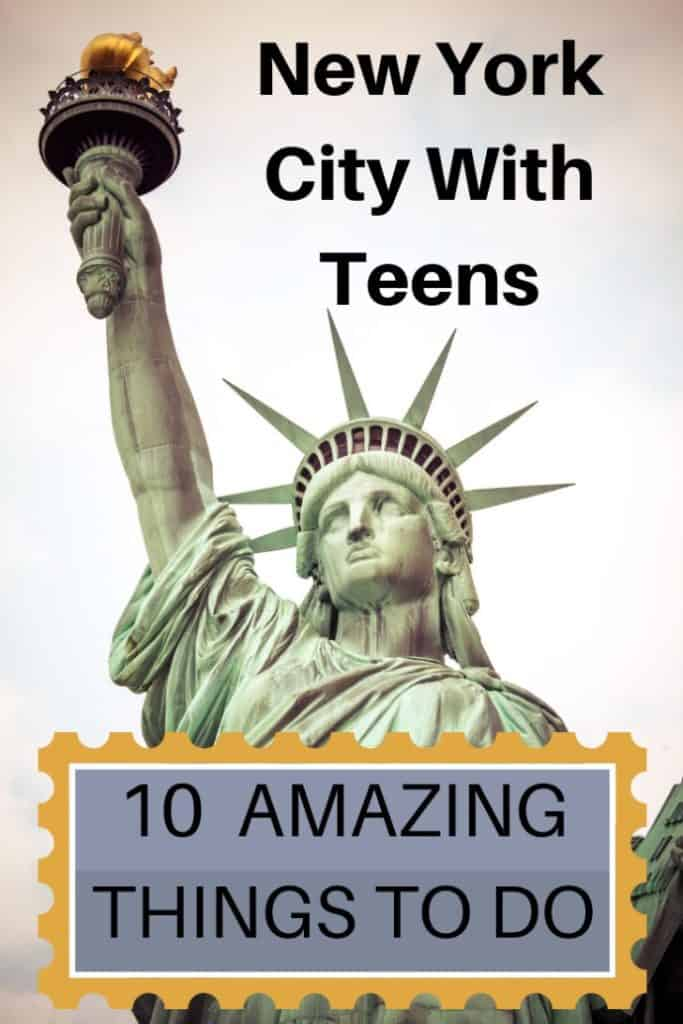 You only have a few days in New York City and want to show your teens the best time. Here are 10 New York City attractions that I guarantee you your teens will love. Mine did! #travel #familytravel #travelwithkids #travelwithteens #NewYork  America, bike tour, Black Tap, Broadway, bus tour, Central Park, Century 21 Department, Ellis Island, Empire State Building, Foot Locker, Knickerbocker, milkshakes, Playbill, shopping, Statue of Liberty, subway, The Ride, Time Square, TKTS, USA