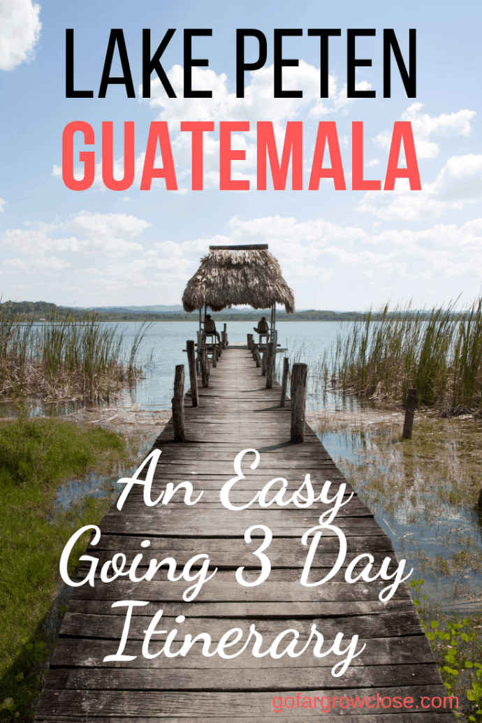 Lake Peten Guatemala is in northern Guatemala, near Tikal. Here is our amazing three day itinerary that had us exploring the largest Mayan ruins in the world, hiking in the jungle, swimming in the rivers, and seeing lots of wildlife. #travel #familytravel #gofargrowclose | Antigua, ARCAS, Central America, Cerro Cahui, Crater Azul, Flores, Lake Atitlan, Lake Peten, Las Pasion, Mayan, Sayaxche, Tikal, Unesco